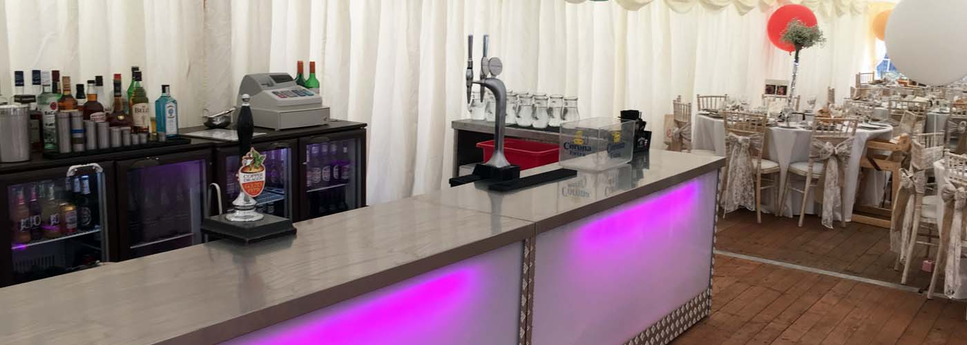 Bar Hire For A Wedding Reception In A Marquee